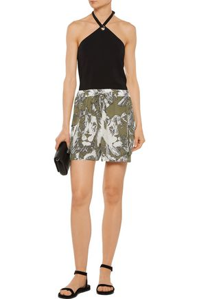 ROBERTO CAVALLI Printed washed-silk shorts