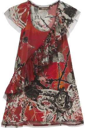 ROBERTO CAVALLI Tiered ruffled printed-silk top