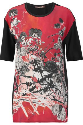 ROBERTO CAVALLI Printed silk-paneled cotton-jersey T-shirt