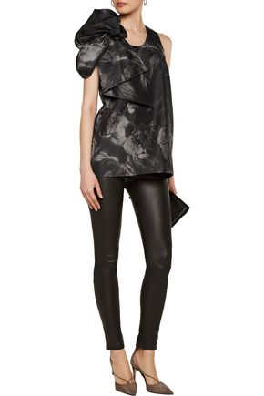 ROBERTO CAVALLI Draped printed silk top