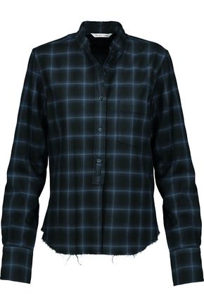 HELMUT LANG Plaid wool and cashmere-blend shirt