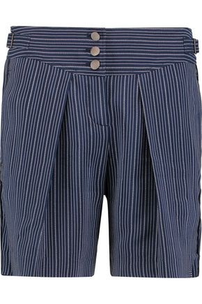 ROBERTO CAVALLI Pleated pinstriped silk-blend shorts