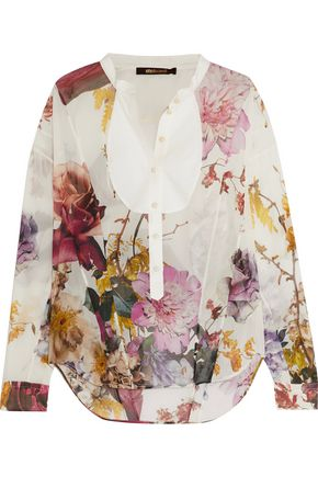 ROBERTO CAVALLI Printed silk-chiffon and cotton shirt