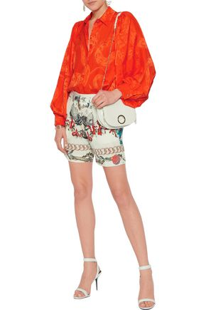 ROBERTO CAVALLI Pleated printed washed-silk shorts