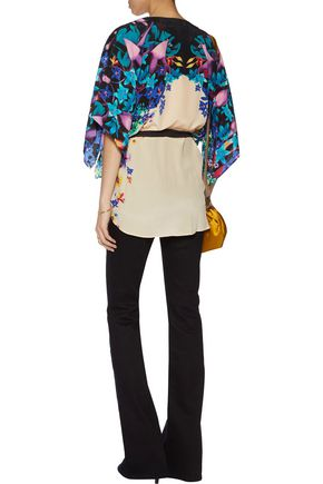 ROBERTO CAVALLI Belted printed washed-silk top