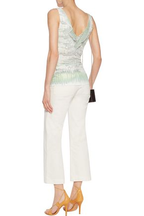 ROBERTO CAVALLI Printed silk chiffon-trimmed stretch-knit top