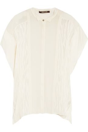 ROBERTO CAVALLI Pintucked, printed and textured silk-chiffon top