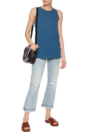 CURRENT/ELLIOTT The Muscle distressed printed cotton-jersey top