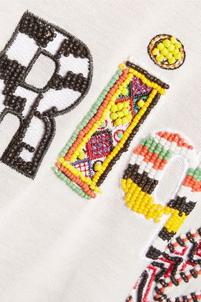 CAMILLA L'Afrique bead-embellished jersey T-shirt