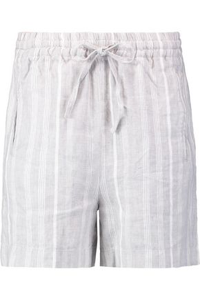 GANNI Striped linen mini shorts