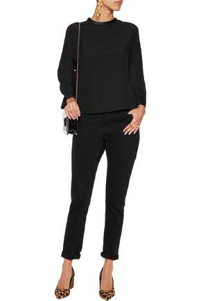 GANNI Satin-trimmed crepe blouse