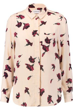 GANNI Floral-print crepe shirt