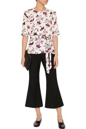 GANNI Printed crepe blouse