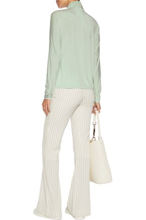 GANNI Ruched jersey turtleneck top