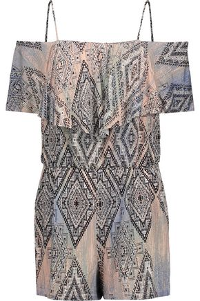 TART Taci off-the-shoulder printed stretch-modal playsuit