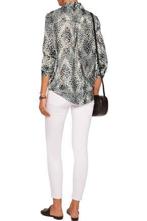 TART COLLECTIONS Georgia lace-up leopard-print satin blouse
