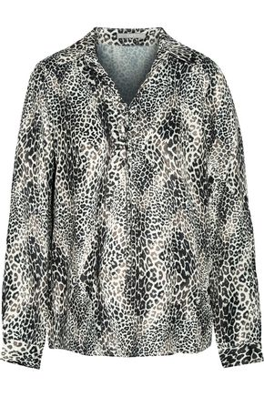 TART Georgia lace-up leopard-print satin blouse