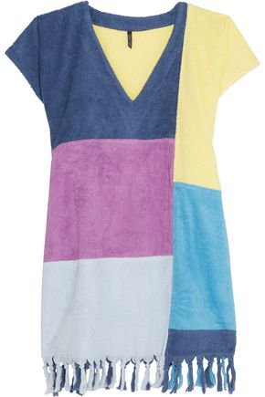 LISA MARIE FERNANDEZ Color-block tasseled cotton-terry coverup