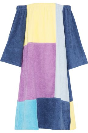 LISA MARIE FERNANDEZ Off-the-shoulder patchwork cotton-terry coverup