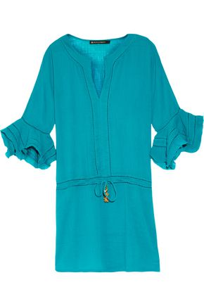 VIX Grace pointelle-trimmed crinkled-cotton coverup