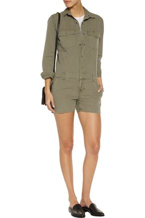 J BRAND Avery brushed cotton-twill playsuit