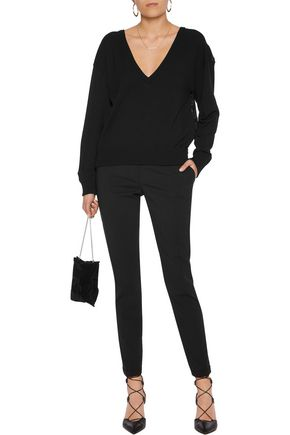 ANTONIO BERARDI Paneled embroidered stretch-jersey sweater