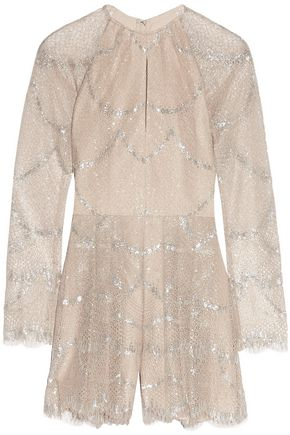 ALEXIS Chanelle metallic pleated lace playsuit