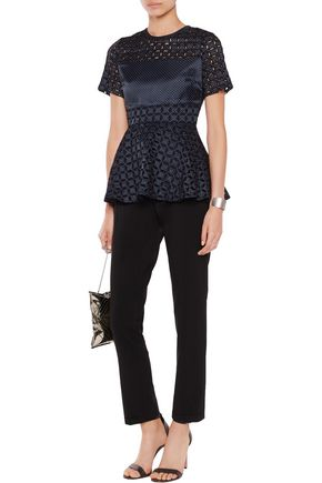 ALEXIS Jenny polka-dot broderie anglaise crepe de chine top