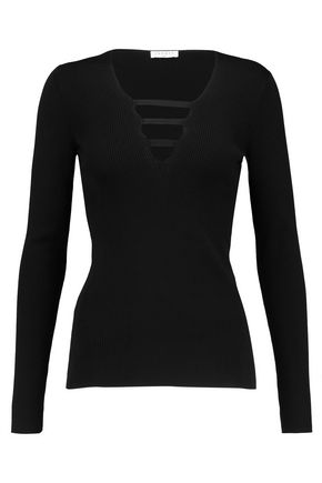 SANDRO Cutout ribbed-knit sweater