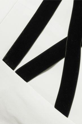 ALEXIS Sebastien velvet-trimmed crepe shorts