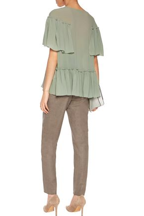 AGNONA Aymmetric ruffled silk-blend crepe blouse