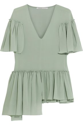 AGNONA Aymmetric ruffled silk-blend crepe de chine blouse