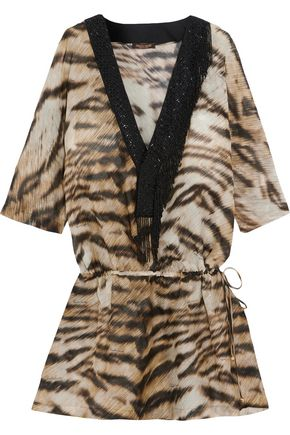 ROBERTO CAVALLI Bead-embellished printed cotton and silk-blend kaftan