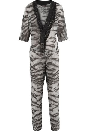 ROBERTO CAVALLI Embellished printed cotton and silk-blend jumpsuit