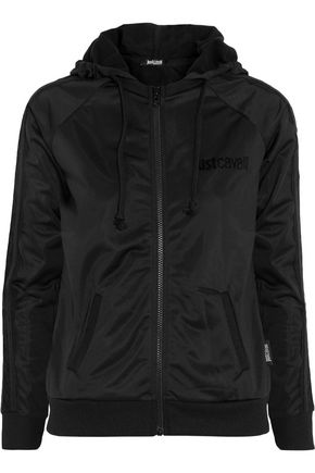 JUST CAVALLI Lace-trimmed jersey hooded jacket