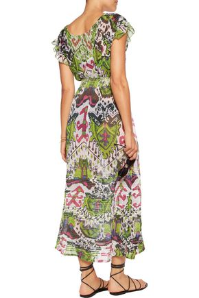 JUST CAVALLI Split-back chiffon maxi dress