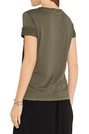 HELMUT LANG Distressed slub cotton and cashmere-blend jersey T-shirt
