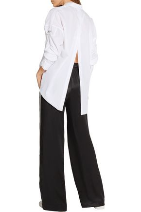 HELMUT LANG Split-back oversized cotton-poplin shirt