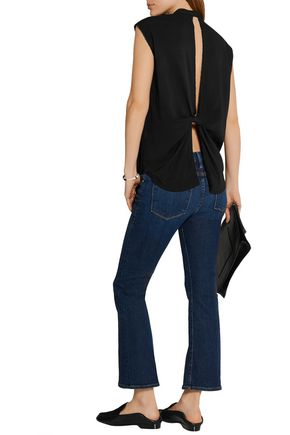 HELMUT LANG Cutout knotted twill top
