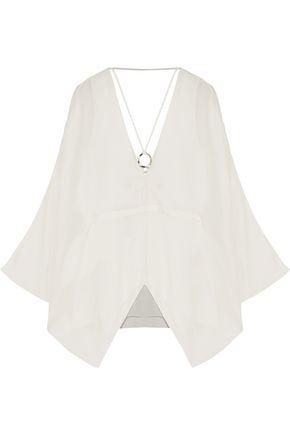 HALSTON HERITAGE Embellished silk-crepe top