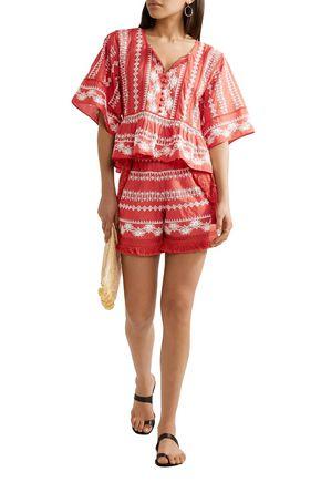 RACHEL ZOE Karlene tasseled embroidered cotton-gauze shorts