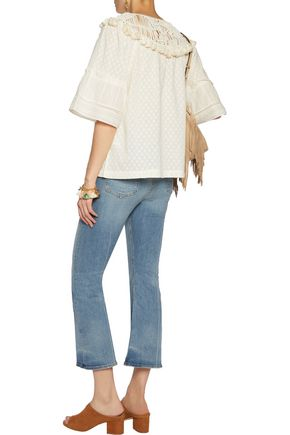 RACHEL ZOE Janis tasseled macramé lace-paneled cotton top