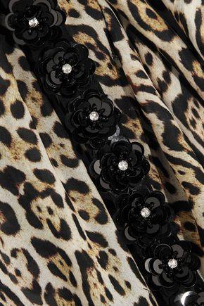 JUST CAVALLI Embellished leopard-print chiffon kaftan