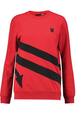LOVE MOSCHINO Appliquéd cotton-blend jersey sweatshirt