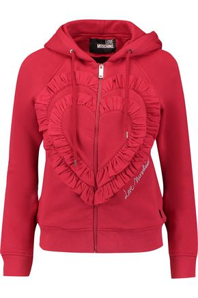 LOVE MOSCHINO Ruffled stretch cotton-blend hooded sweatshirt