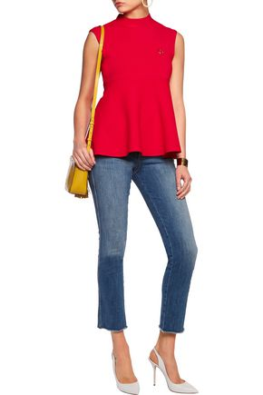 LOVE MOSCHINO Embellished textured stretch-knit top