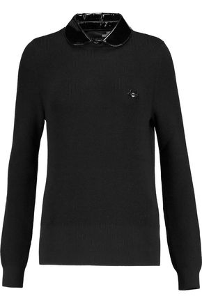 LOVE MOSCHINO Faux patent leather-trimmed ribbed wool sweater