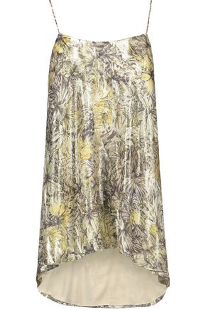 HAUTE HIPPIE The Admire metallic printed silk-blend crepe de chine camisole