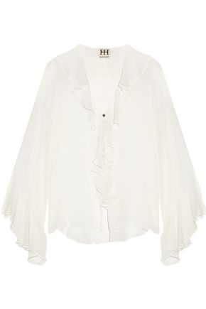 HAUTE HIPPIE Romeo + Juliet ruffled silk crepe de chine blouse