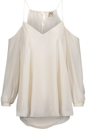 HAUTE HIPPIE Cold-shoulder silk crepe de chine top
